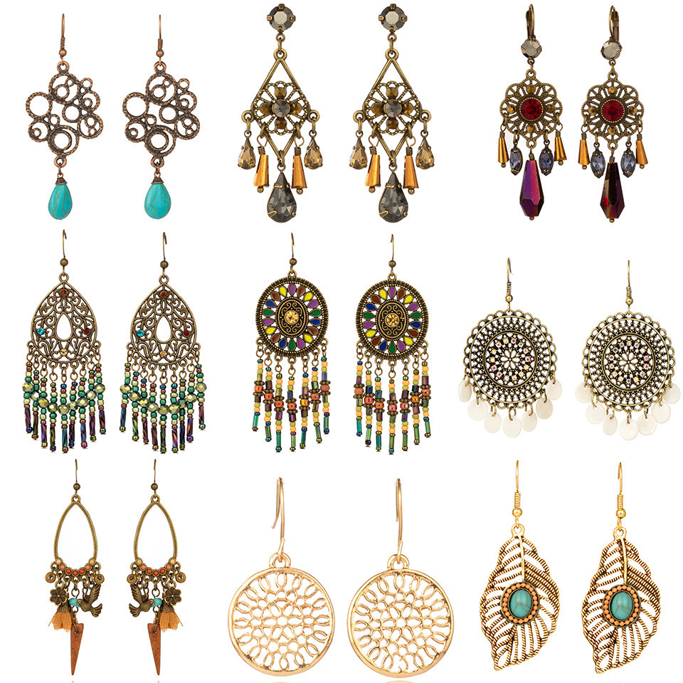 2020 Gold Round Drop Earrings Big Circle Colorful Acrylic Tassel Earrings For Women Fashion Long Wood Fringe Earings Jewelry