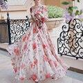 2017 otoño moda de manga farol v-cuello ultra larga de la gasa dress palabra de longitud rose impreso playa bohemia vestidos maxis
