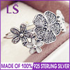 LS Hot Sale High Quality Real 925 Silver Shimmering Bouquet With White Enamel Rings For Women