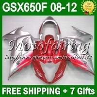 Красное серебро y 7 подарки для SUZUKI GSX650 F GSX650F GSX 650F #368 GSXF650 красное серебро 2008 2009 2010 2011 2012 08 09 10 11 12 обтекатель
