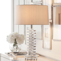 Modern K9 Crystal Table Lamp for Bedroom Mixed Color Lampshade K9 Stacked Crystal Button Switch Table Lamp Large Table Lamps