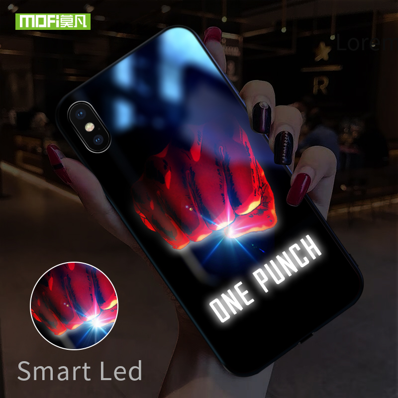 Mofi Smart Led Glow Phone Case For iPhone XR XS MAX Case Cover Funda Luxury Hard Silicone TPU Patterned Glass Character Capa