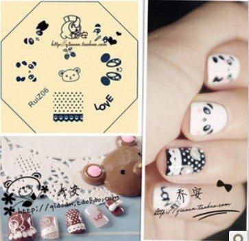 nail art stamping image plate template lovely bear ruiz 06 qa01 98
