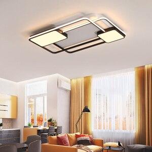 Image 3 - أضواء الثريا لغرفة المعيشة غرفة نوم مستطيل الألومنيوم ثريا تركب بالسقف أضواء Lustres الثريا الحديثة مع البعيد