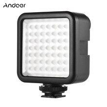 Andoer W49 Mini cámara panel de luz de vídeo LED luz regulable videocámara Video iluminación con adaptador de montura de zapata para Canon Nikon Sony