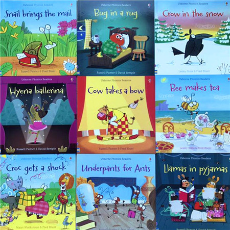 Funny Educational Children English Study Language Learing Books gld2 usborn Phonics Readers Color Story Books 11pcs