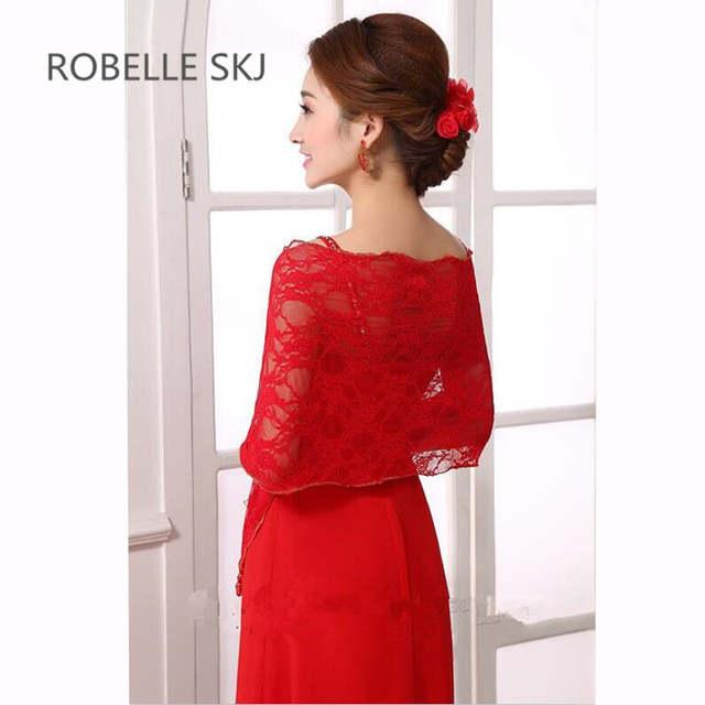 2de47b01793 placeholder Long Lace Bridal Shawl Wedding Jacket Women Shrug Bolero Wraps  Plus Size Black White Ivory Red