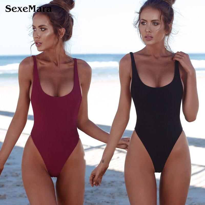 Tanga negro 2018 sexy traje de baño de una pieza sólida mujeres fundido bañadores backless blanco brasileño mayo bañista monokini XL