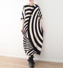 2018 новый летний Винтаж платье плюс Размеры черные и белые полосы Рубашка с короткими рукавами свободные повседневные Макси платье Новый Boho elbise Халат femme