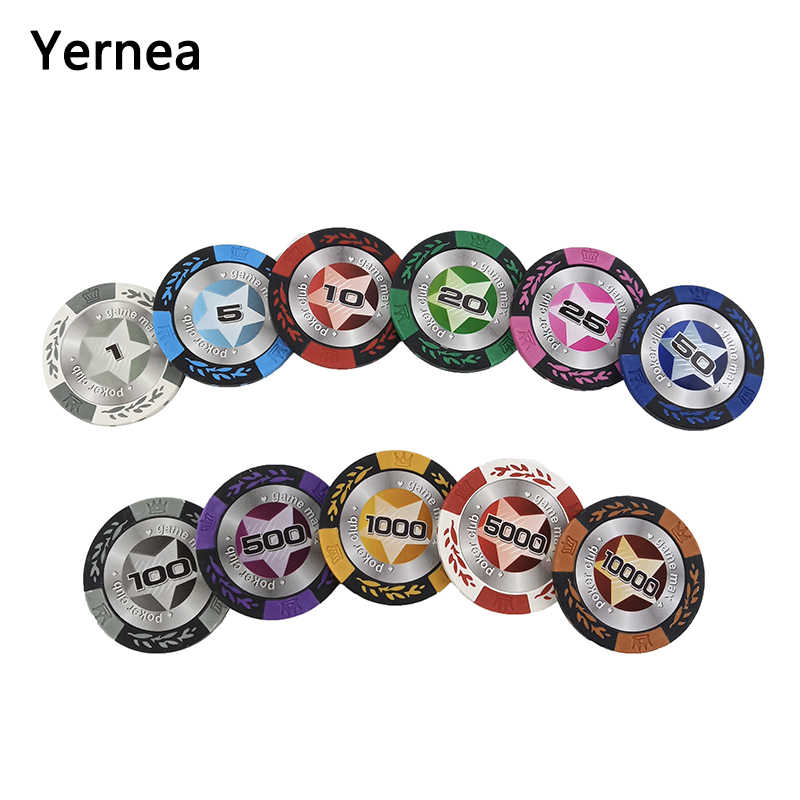 25PCS/Lot Poker Chips For Poker Set Baccarat Upscale Texas Hold'em Clay Set Poker Chip Set Quality Pokerstars 14g Yernea