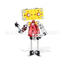 цена на Zhenwei Art Metal Building Block Set Robot Model Assembly STEM Education Blocks Construction Engineer  Christmas Toy