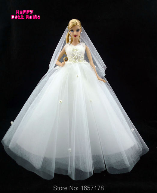 Handmade Wedding Party Dress Bridal Veil Pure White Gown Beads Decoration  Lace Clothes For Barbie Doll 7485ab37d6ec