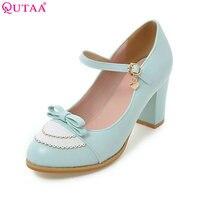 QUTAA Fashion Ladies Pu Leather Platform Women Pumps Dress Shoes Sexy High Heel Shoes Women S