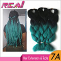 "5Packs 24"" 100G Black To Teal Green Ombre kanekalon Braiding Hair Two Tone Synthetic Jumbo Hair Dreadlocks Crochet Box Braids"