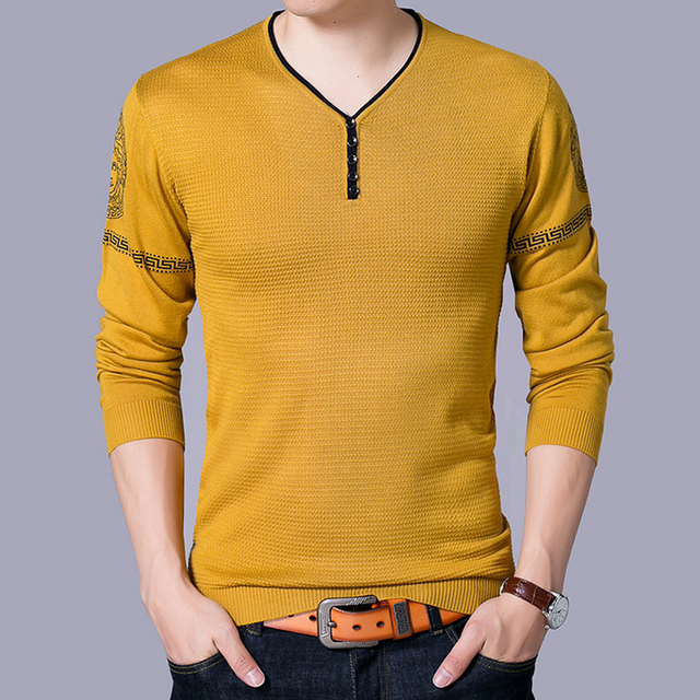 Red Yellow Blue Mens Pullover Sweater V Neck Autumn Winter Casual ...