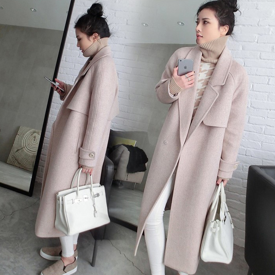 Women Lady Full Long Woolen Blended Coat Belt Trench Outwear Warm Winter Thicken Silm Fit Overoat Size