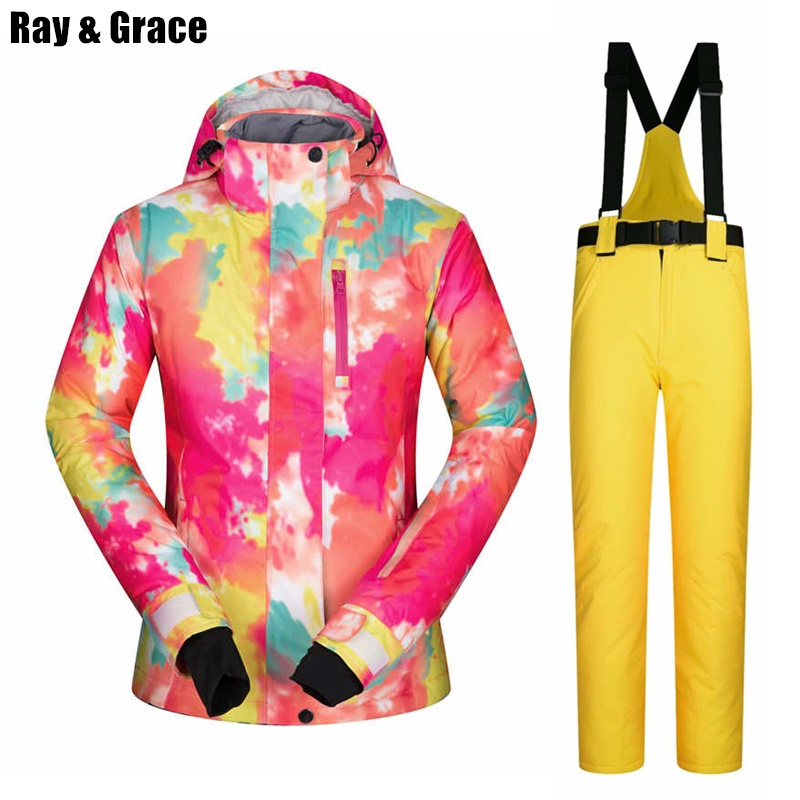 RAY GRACE Ski Suit Pants Jacket Snow Women Waterproof Thermal Ski Suit  Fleece Thick Winter Clothes Female Snowboarding Sports-in Skiing Jackets  from Sports ... 7bdfc2bed