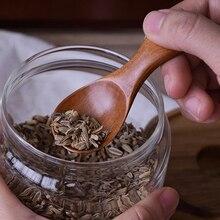 4шт Мини ложки Натуральная деревянная блесна набор, Маленькая чайная ложка Короткая ручкой ложка для соуса сахара специй, Деревянная чайные ложки кофейная черпак Деревянная посуда Кухонные аксессуары ложки