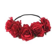 Heimaiekng красная роза оголовье руководитель группы цветочные головки Венок головной убор Обувь для девочек Женские аксессуары для волос Свадебные Головные уборы