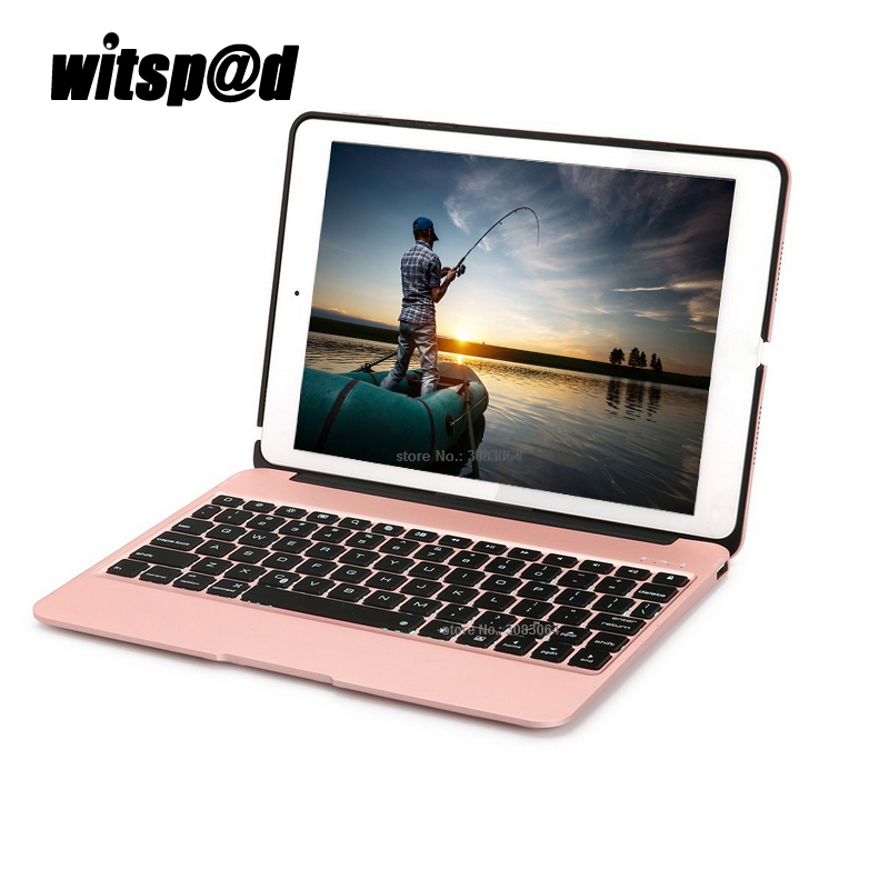 7 colors backlit light wireless bluetooth Keyboard For iPad Pro 9.7 Case Slim Aluminum  Case with Keyboard for Tablet PC for ipad mini4 aluminum keyboard case with 7 colors backlight backlit wireless bluetooth keyboard