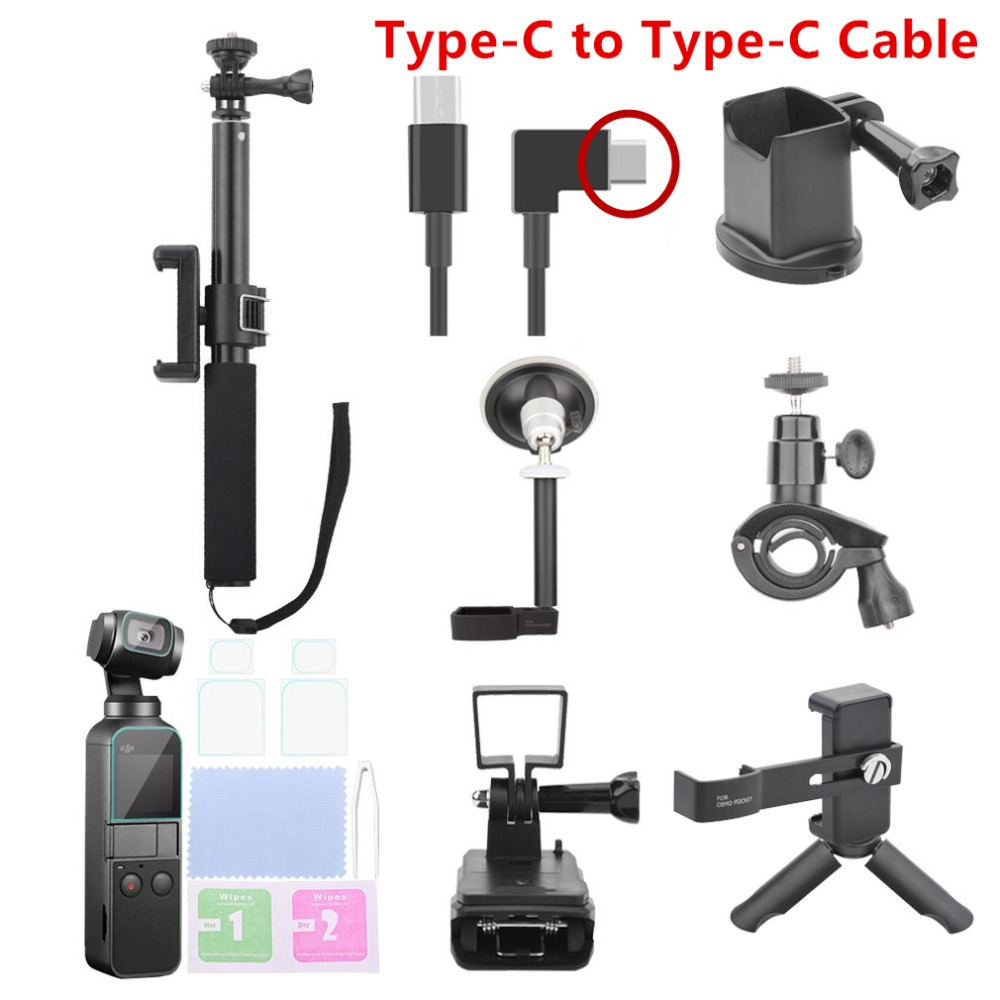 8 pièces/ensemble accessoires de caméra de sport pour DJI OSMO poche Selfie bâtons Clip de téléphone type-c câble de données trépied tout en un paquet