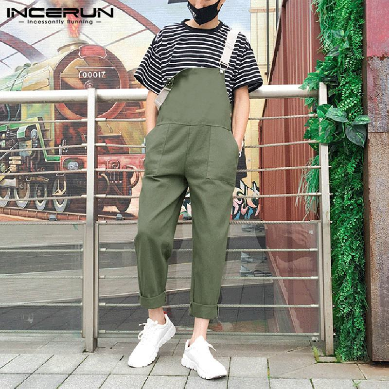 2019 Streetwear Overalls Men Jumpsuit Pants Cotton Hip-hop Straps Pockets Casual Loose Suspenders Solid Chic Male Romper INCERUN