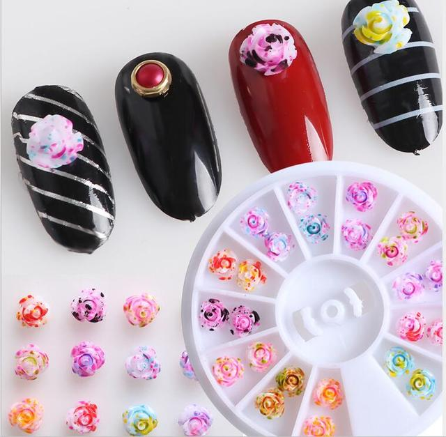 12 Colors Wheel 3D Nail Art Rose Flower Magic Design DIY Manicure ...
