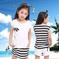 Free Shipping Baby Girls Summer Sets Stripe T Shirt+Culottes Children Clothing Suits Meninas Vestir Roupa Infantil Kids Clothes