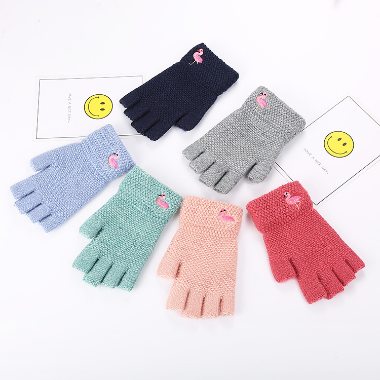 Gloves Students Winter Warm Exposed Finger Mittens Knitted Warm Flip Half Finger Gloves Flamingo Gloves