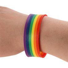 Wristband Homophile Bright-colored Comfort Silicone Rainbow Bracelet