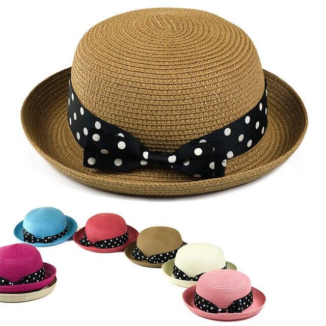 Spring and summer female hat polka dot bow fedoras beach roll-up hem strawhat sunbonnet outdoor sun hat