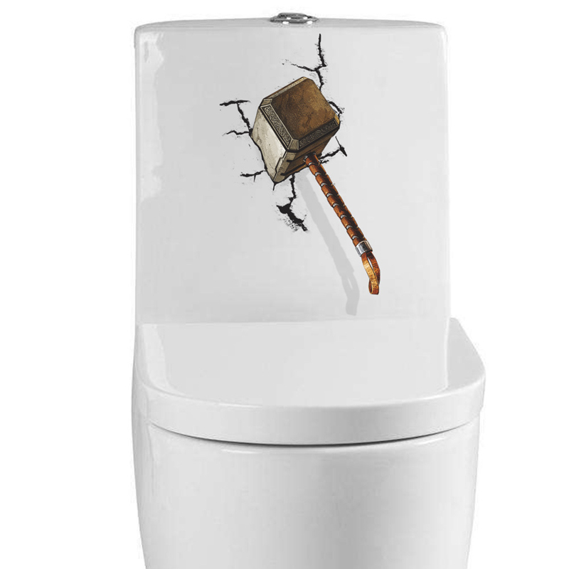 Waterproof 3D Hammer hit the wall Wall Sticker Vinyl Toilet Bathroom Home Decor Decal Poster Background Creative Stickers
