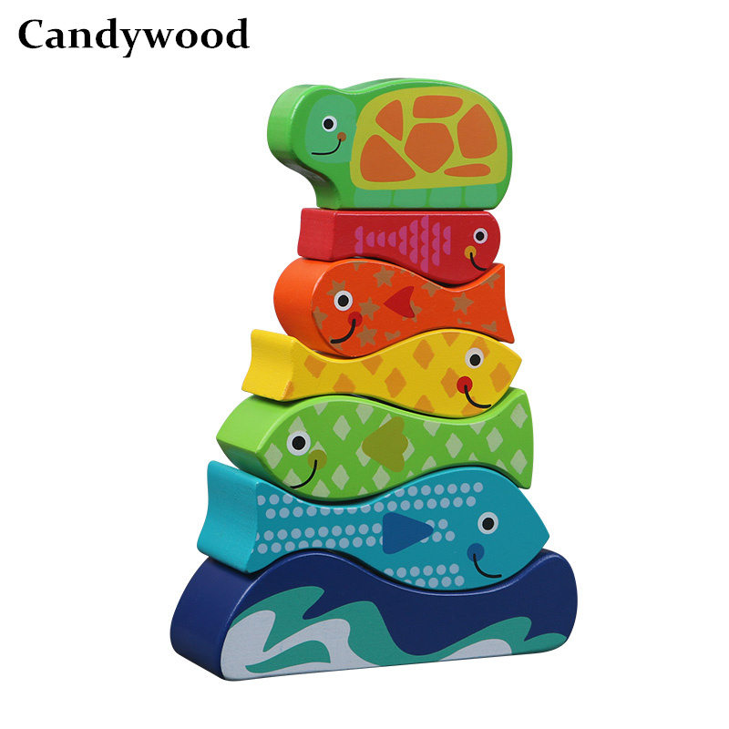 2018 New High quality Colorful Fish Stacked high blocks Pile tower children kids Educational wooden toys early Montessori toys
