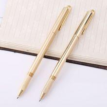 Retro Gold Brass Black Ink Ballpoint Pen Handmade With Clip Office School Supplies Stationery