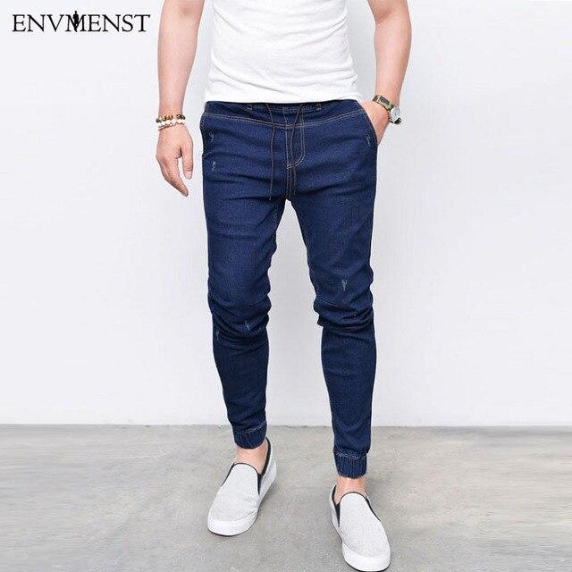 2017 Envmenst מותג אופנה גברים של ג ינס הרמון שטף רגליים Shinny ינס מכנסיים היפ הופ ספורט אלסטי מותניים חובבי ריצת מכנסיים
