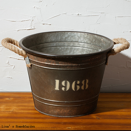 Vintage Rustic Round Metal Planter Bucket With Rope Handles