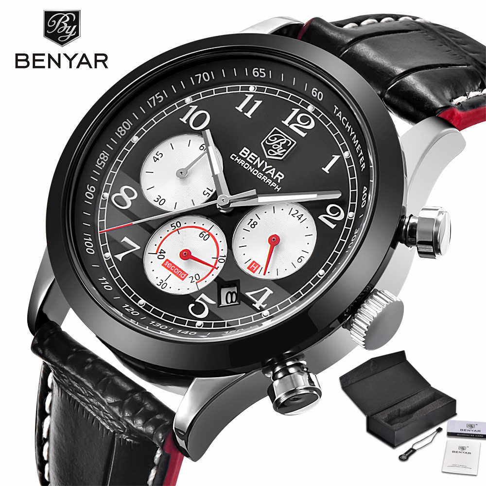 BENYAR Chronograph Men Wrist Watch Top Brand Luxury Quartz Clock Date Display Genuine Leather Band Strap Black/White Include Box 2017 xinew brand luxury men s watch aviator white automatic mechanical date day leather band quartz wrist watch military clock