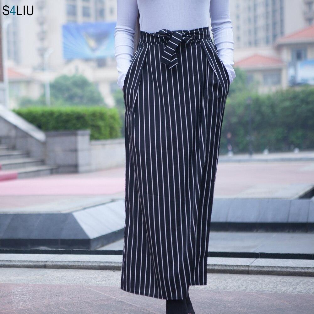 Fashion Women High Waist Stripe Long Skirts Bottoms Muslim Maxi Tutu Skirt Lady Casual Ramadan Party Worship Islamic Clothing