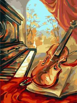 Frameless pictures painting by numbers hand painted canvas cartoon drawing diy oil painting by numbers 40*50cm violin  B56
