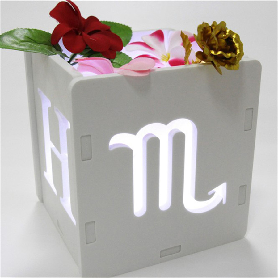 Купить с кэшбэком Luminous letter boxs glowing Artificial wooden wood letter Light emitting constellation Used for wedding decorations party gift