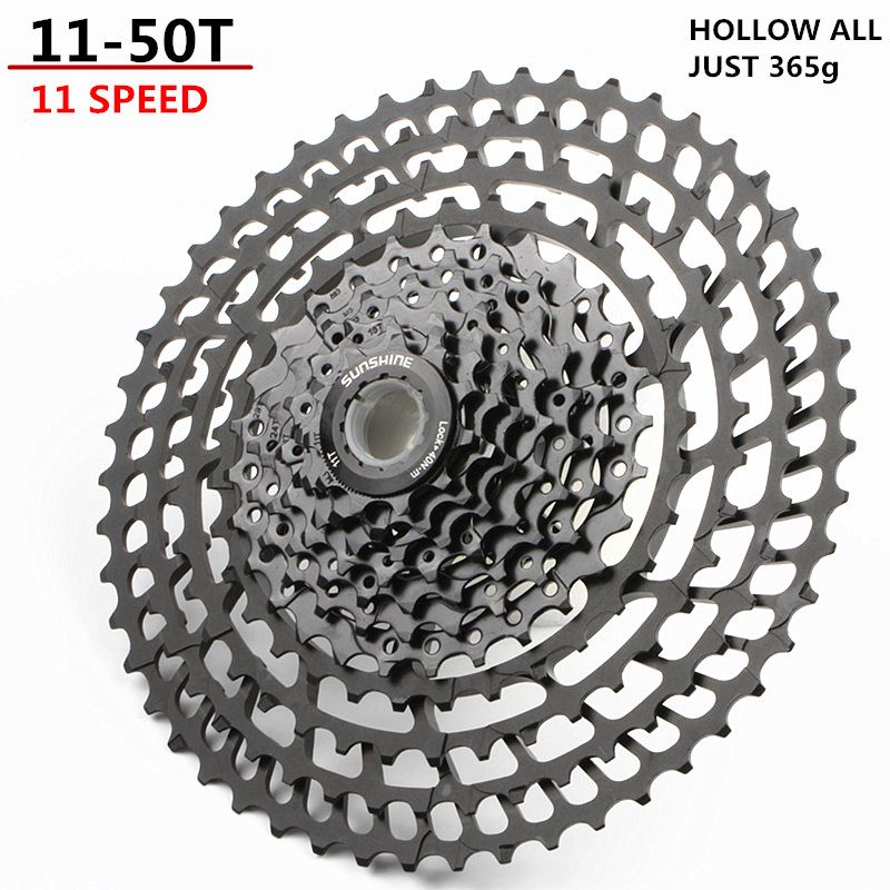 SUNSHNE vtt 11 vitesses 11-50 T Cassette 365g ultra-léger vélo roue libre 11 t pièces de vélo montagne pour Shimano M9000 M8000 M7000