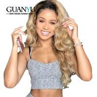 Guanyuhair Ombre блондинка 360 Синтетические волосы на кружеве al парик перуанской Remy волна 1b/27 Полный Синтетические волосы на кружеве натуральные во