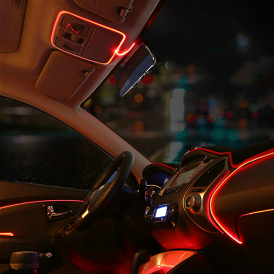 jingxiangfeng 1m car lights driving ambient light el cold line diy decorative dashboard with 12v. Black Bedroom Furniture Sets. Home Design Ideas