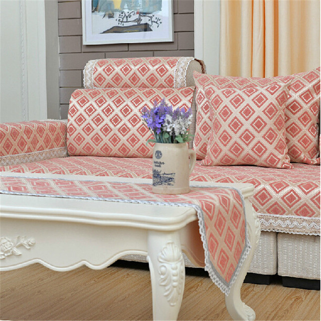 Brand Corner Sofa Cover Chenille Flocked Plaid Sofa Protector ...