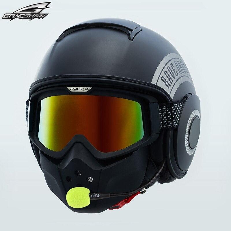 Moto Harley Retro del Casco con Maschera occhiali Simile Squalo Casco Bluetooth Controllo Vocale Auricolare CapacetesGracshaw G828