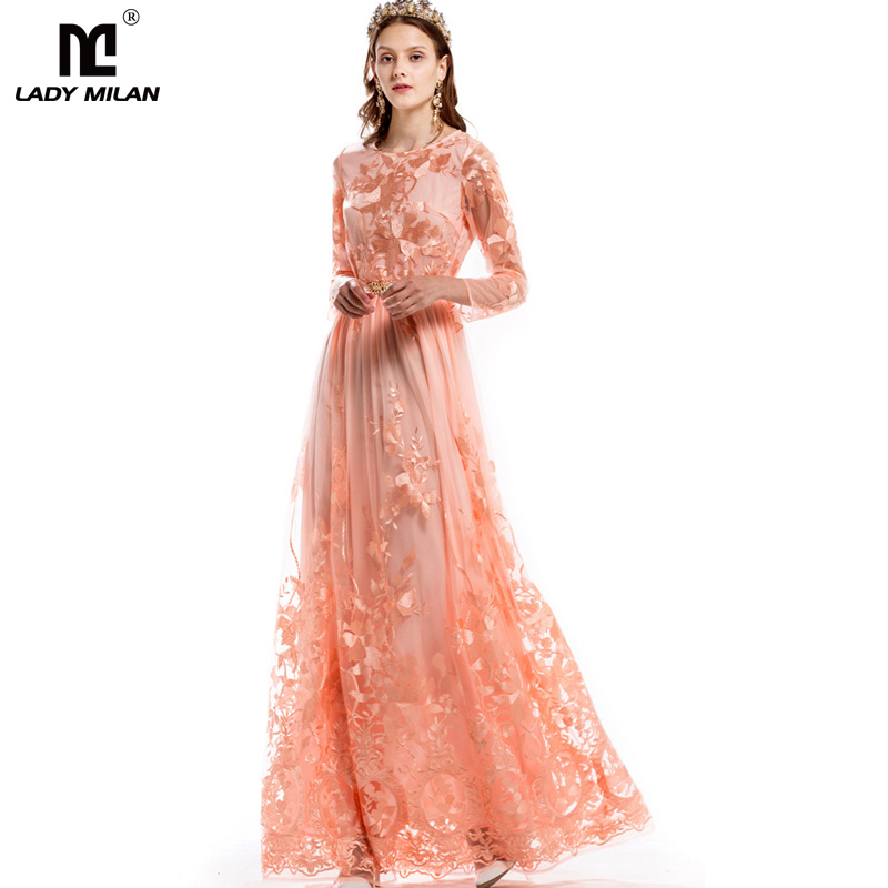 Luxury New Arrival 2018 Spring Womens O Neck Long Sleeves Embroidery Elegant Maxi Floor Length Prom Runway Dresses in 2 Colors