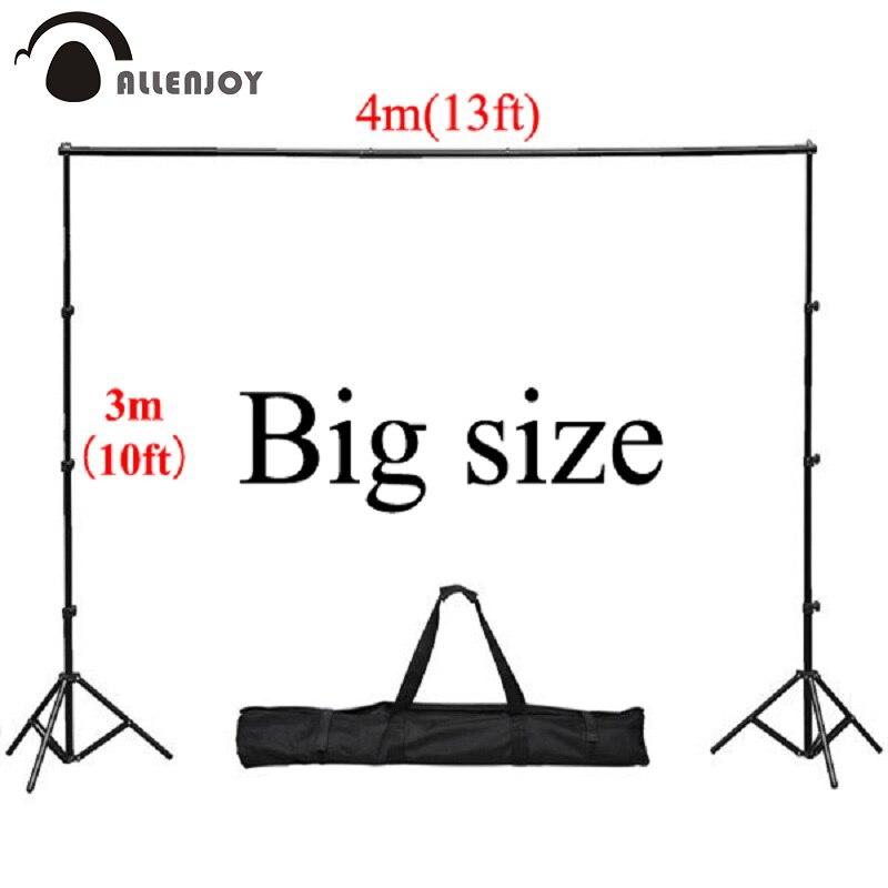 Allenjoy 4*3 m/13 * 10ft Professionnel Décors stand Fond Support Système 2 stands + 4 croix bar (Chaque 1 m) + sac de transport + 4 clips