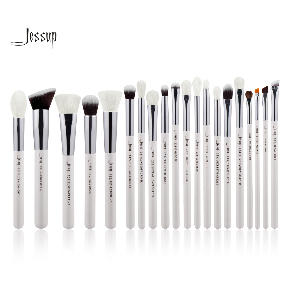 Jessup Pearl White Silver Professional Makeup Brushes Set Beauty tools Make up Brush Cosmetic kit Foundation