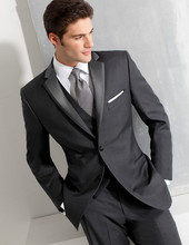 Custom made Size and Color Two Buttons Groom Tuxedos Gray Groomsman Bridegroom Wedding font b Suit