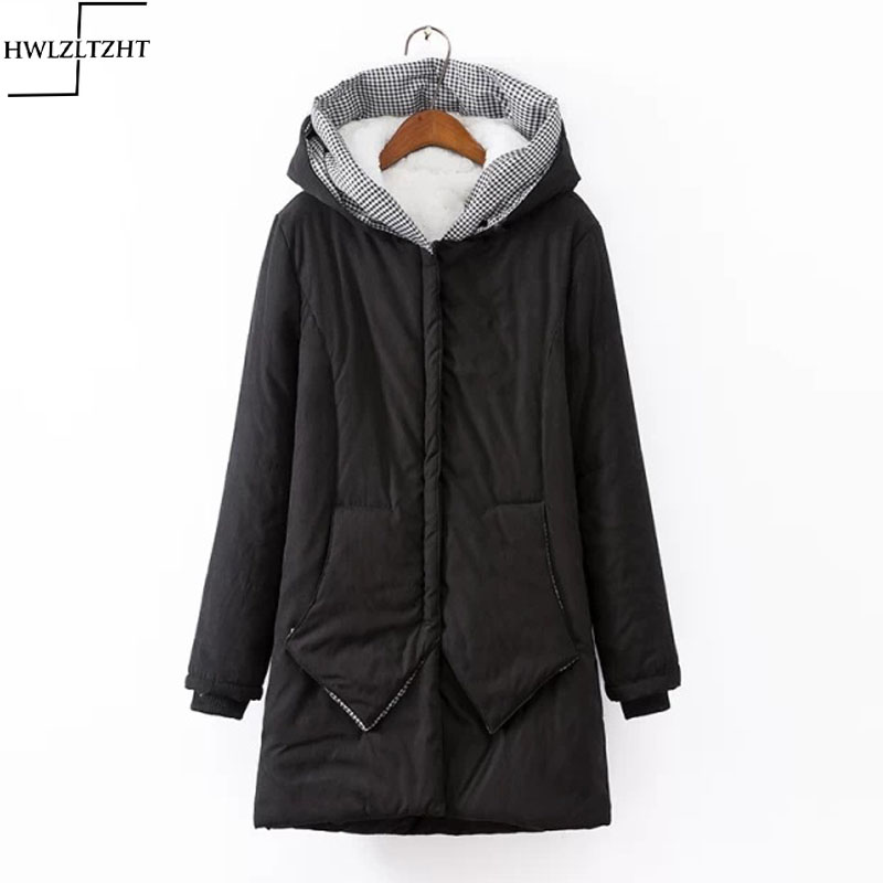 6fbb3d75fb7db New Thickening Winter Lambs Fur Parka Coat Warm Hooded Collar Jackets for  Women Plus Size Womens Parkas for Women-in Down Coats from Women's Clothing  & ...